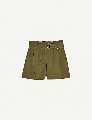 TOPSHOP: High-rise D-ring-belted woven shorts