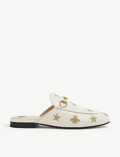 GUCCI: Princetown bee-embroidered leather loafers