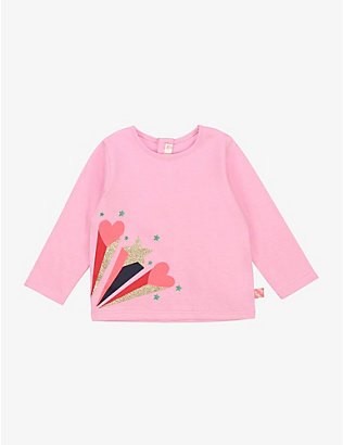 BILLIE BLUSH: Star Burst cotton long sleeve T-shirt 6-36 months