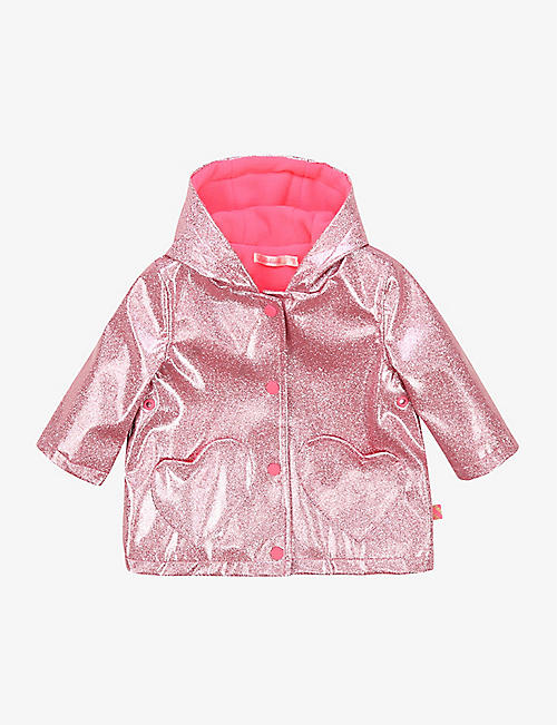 BILLIE BLUSH: Hooded glitter raincoat 6-36 months