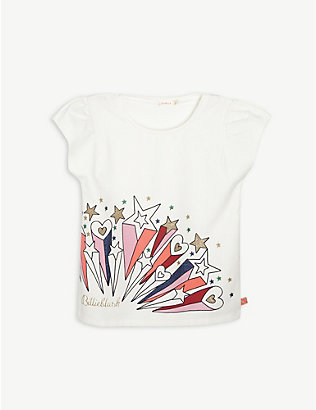 BILLIE BLUSH: Star print cotton-blend T-shirt 4-12 years