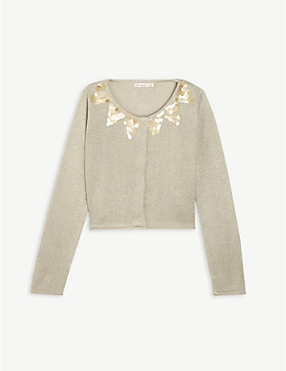 BILLIE BLUSH: Sequin knitted cardigan 4-12 years