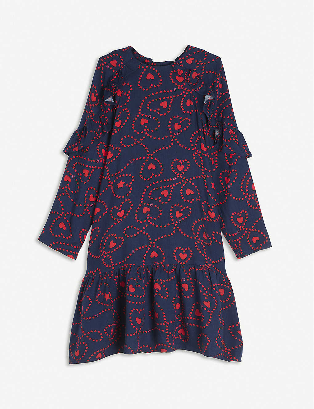 BILLIE BLUSH: Heart-print ruffled woven dress 4-12 years