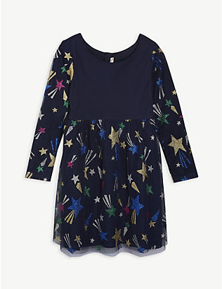 BILLIE BLUSH: Graphic-print tulle dress 4-12 years