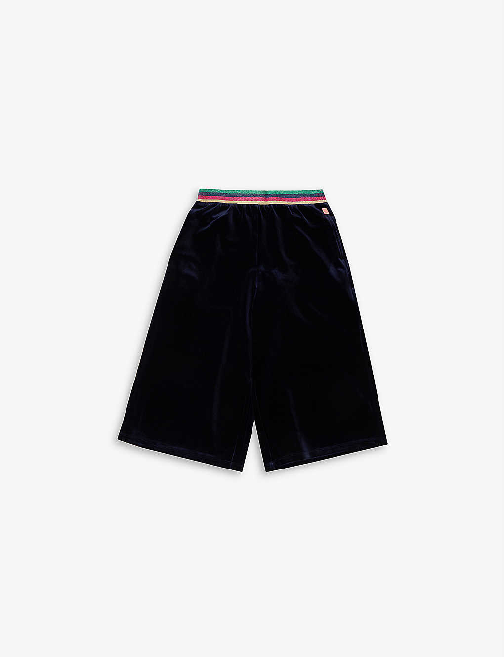 BILLIE BLUSH: Stripe-trimmed stretch-velour culottes 4-12 years