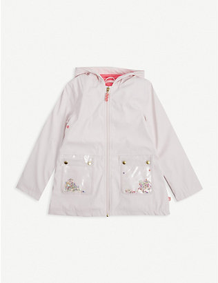 BILLIE BLUSH: Embellished wax raincoat 4-12 years