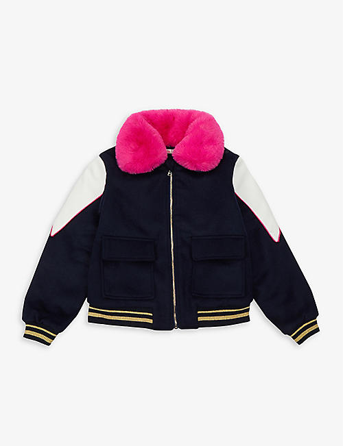 BILLIE BLUSH: Sequin cat-embroidered branded felt jacket 4-10 years
