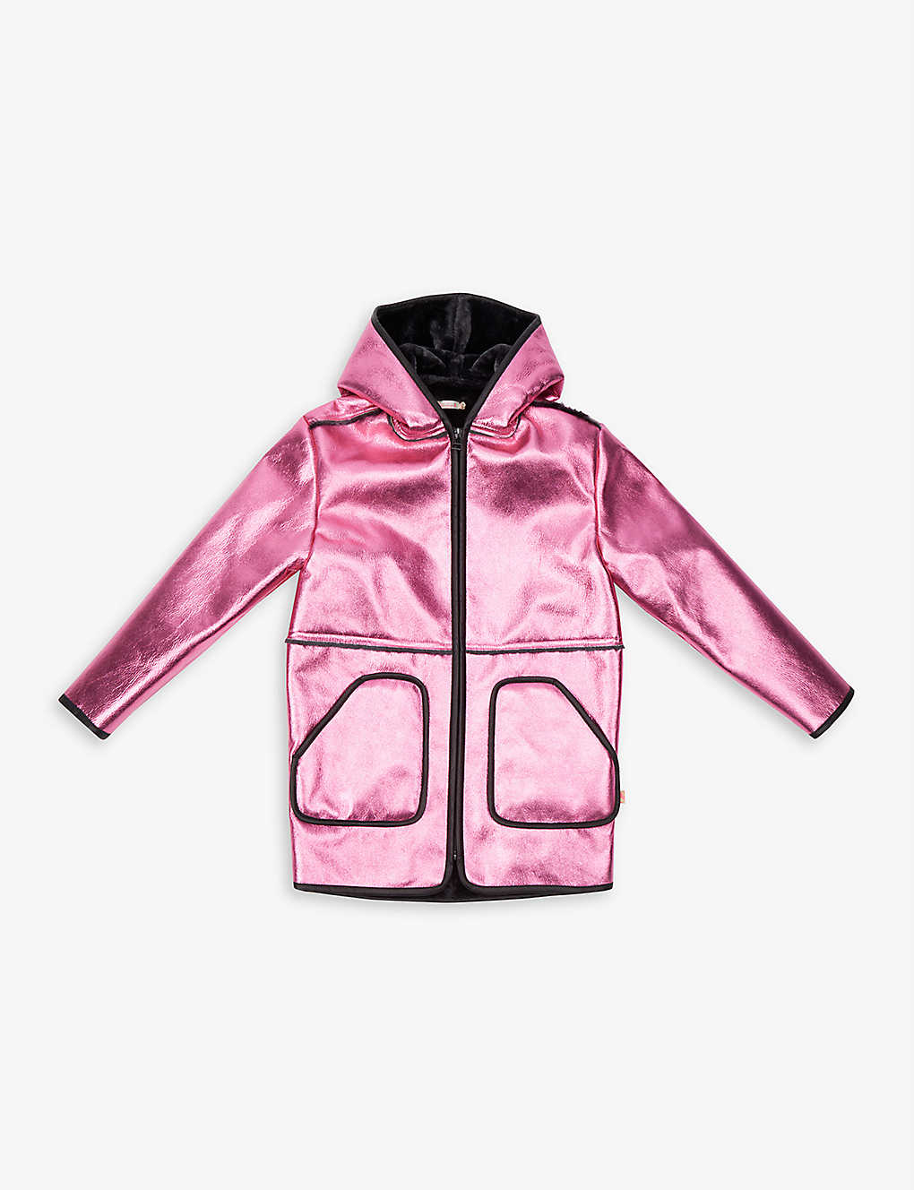 BILLIE BLUSH: Hooded metallic faux-shearling coat 4-12 years