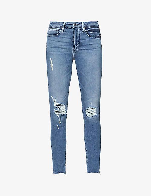 GOOD AMERICAN: Good Legs Fray Hem skinny high-rise organic cotton-blend jeans