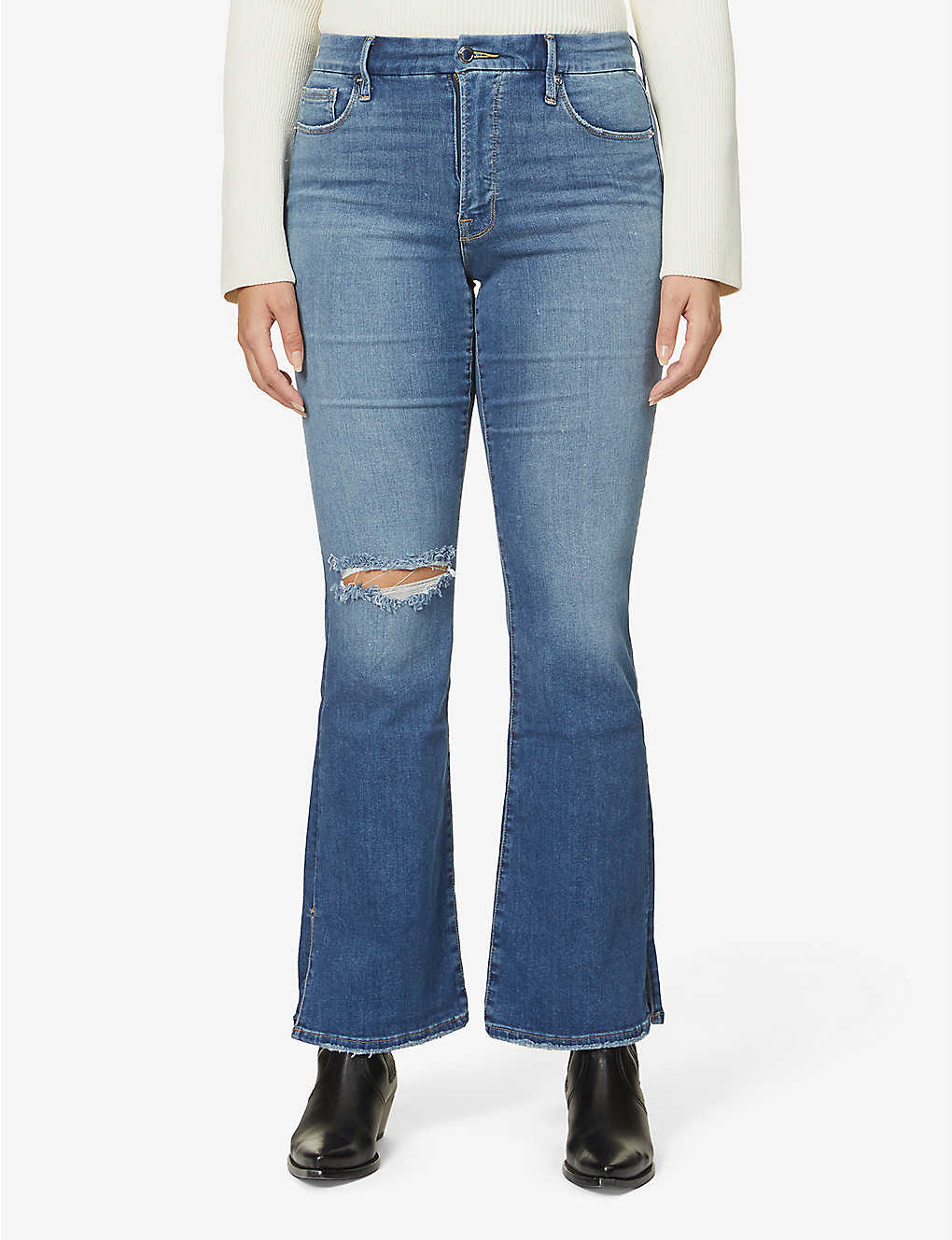 GOOD AMERICAN: Good Flare high-rise jeans