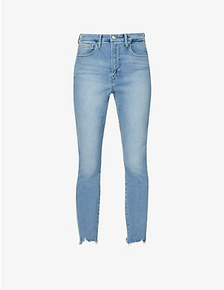 GOOD AMERICAN: Good Curve skinny cropped raw-hem high-rise organic cotton-blend jeans