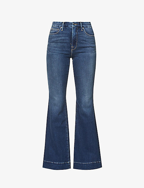 GOOD AMERICAN: Good Flare high-rise stretch-denim jeans