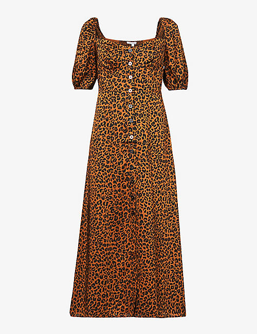 GOOD AMERICAN: Animal-print puff-sleeve woven maxi dress