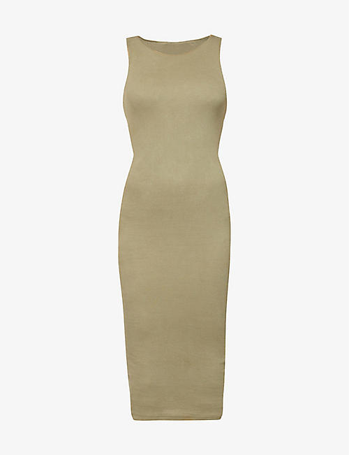 GOOD AMERICAN: Ribbed sleeveless stretch-knit midi dress