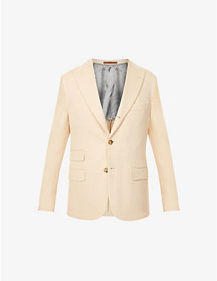 ELEVENTY: Single-breasted regular-fit camel and wool-bend blazer