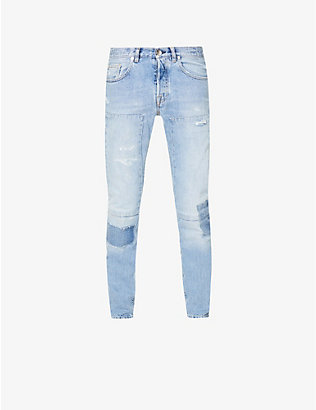 ELEVENTY: Patch and distressed slim-fit mid-rise jeans