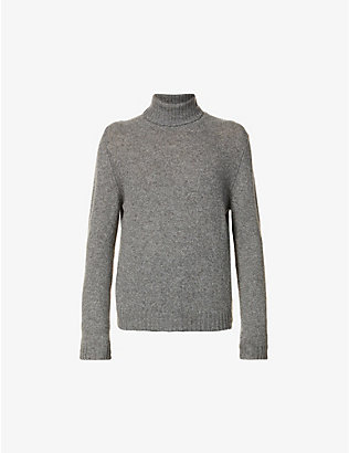 ELEVENTY: Roll-neck marled camel wool jumper