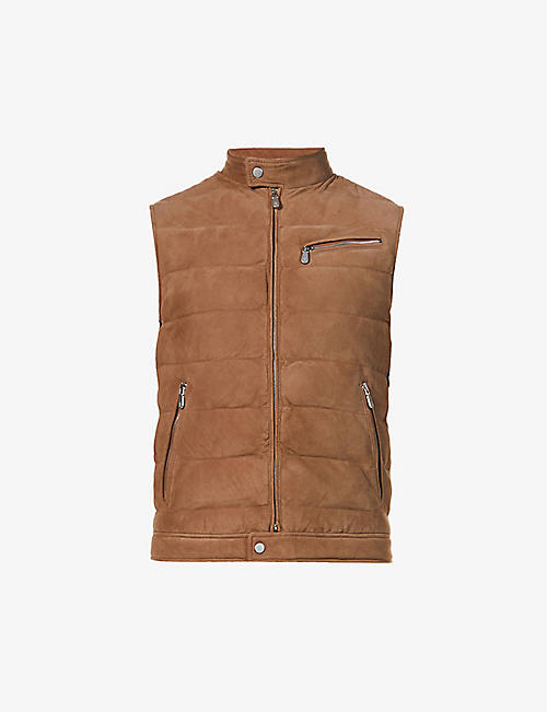 ELEVENTY: Padded zipped suede gilet