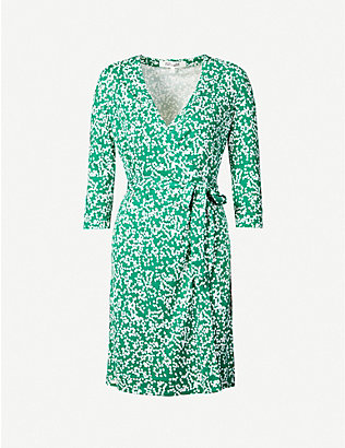 DIANE VON FURSTENBERG: Miles graphic-print wrap-front silk mini dress