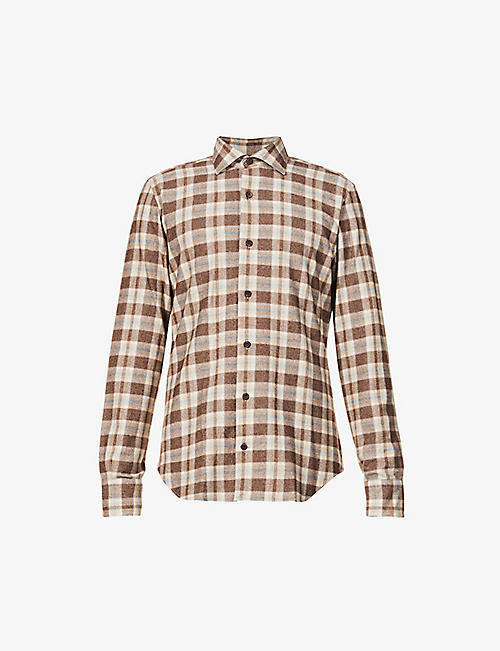 ELEVENTY: Checked regular-fit cotton, wool and cashmere-blend shirt