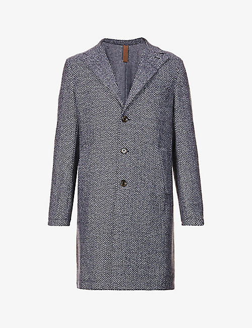 ELEVENTY: Herringbone single-breasted wool-blend coat