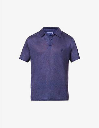 VILEBREQUIN: Brand-embroidered linen-knit polo shirt