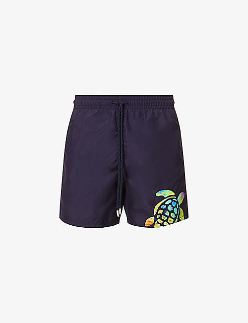 VILEBREQUIN: Block turtle-print swim shorts
