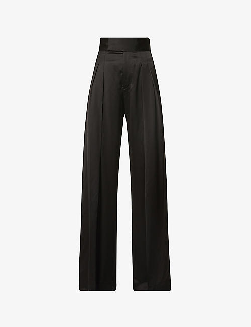 JW ANDERSON: Wide-leg high-rise satin-crepe trousers