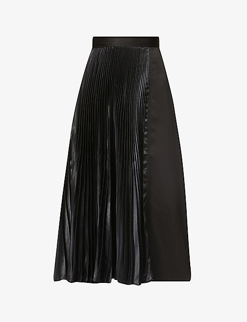 JW ANDERSON: Pleated satin-crepe midi skirt