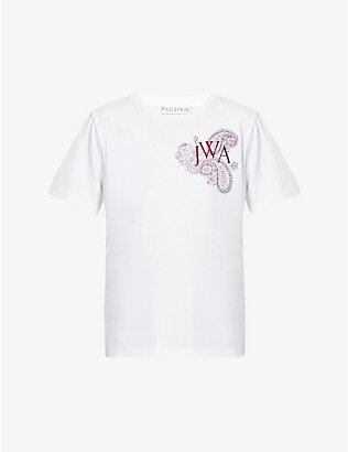 JW ANDERSON: Logo-embroidered cotton-jersey T-shirt