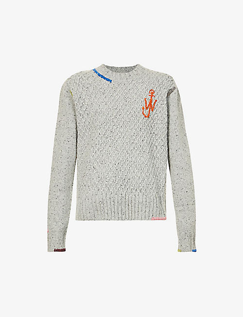 JW ANDERSON: Logo-embroidered wool-blend jumper