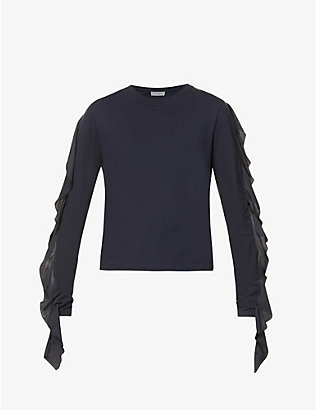 JW ANDERSON: Frilled-panel cotton-jersey T-shirt