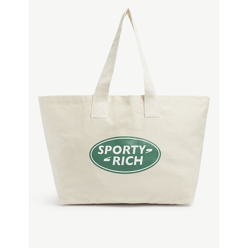 Sporty And Rich Logo-printed cotton canvas tote bag