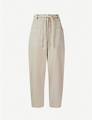WHISTLES: Rope belted cotton-blend trousers