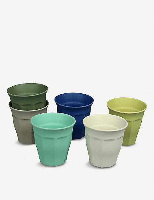 ZUPERZOZIAL: Cupful of Colour bamboo, corn and melamine cups set of six 250ml