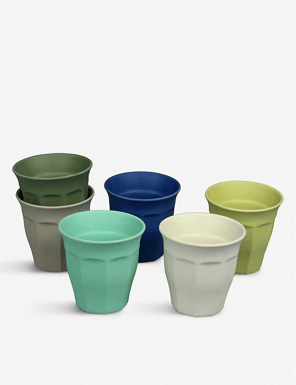 ZUPERZOZIAL: Cupful of Colour bamboo, corn and melamine cups set of six 150ml