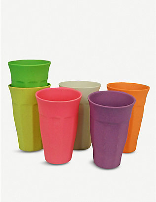 ZUPERZOZIAL: Cupful of Colour bamboo, corn and melamine cups set of six 400ml