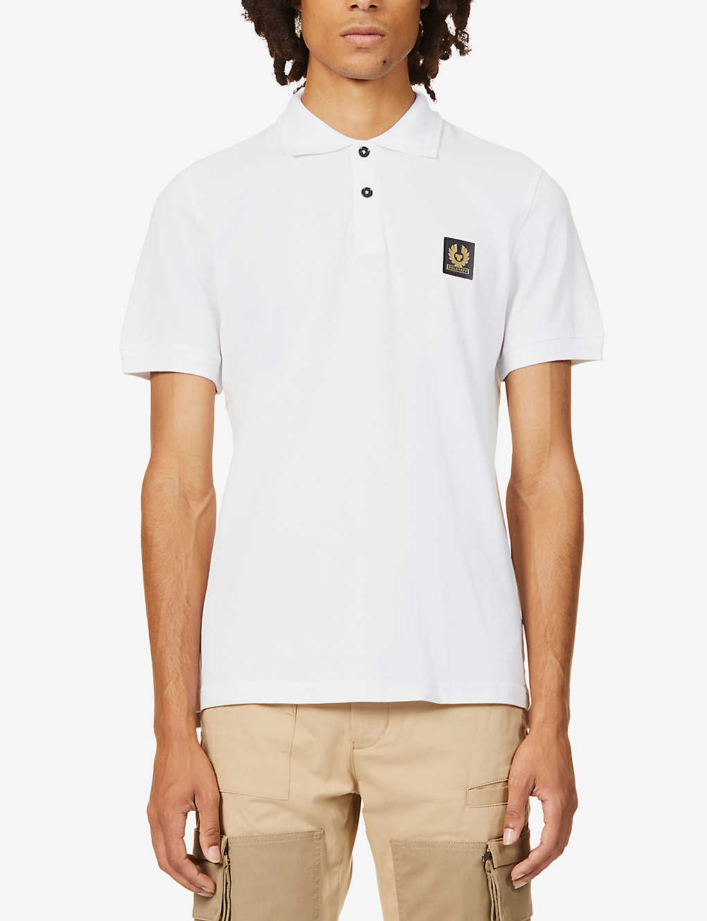 BELSTAFF: Brand-badge collared cotton-piqué polo shirt