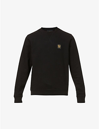 BELSTAFF: Brand-badge crewneck cotton-jersey sweatshirt
