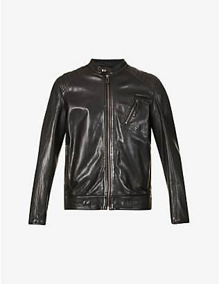 BELSTAFF: V Racer 2.0 quilted-shoulder leather jacket