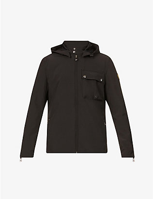 BELSTAFF: Wing funnel-neck waxed woven jacket