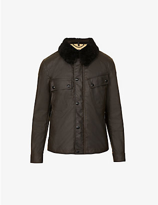 BELSTAFF: Patrol shearling collar waxed cotton jacket