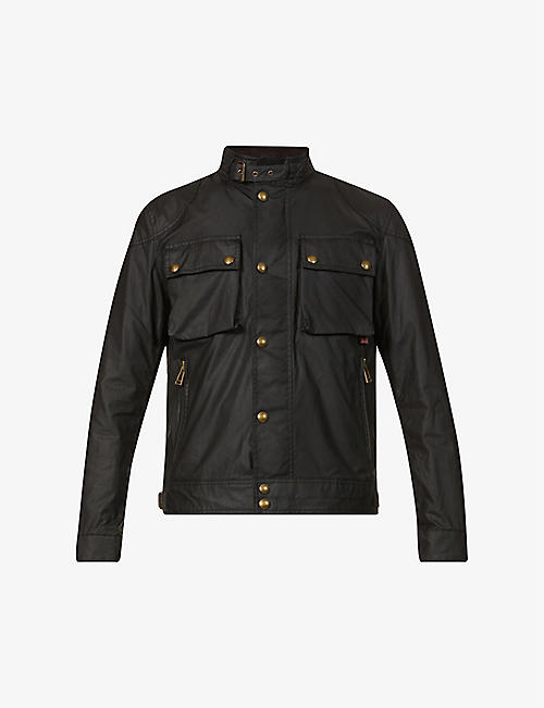 BELSTAFF: Racemaster funnel-neck waxed cotton jacket