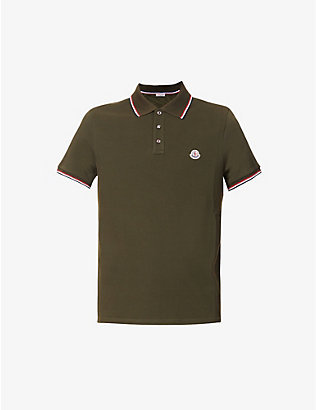 MONCLER: Logo-embroidered cotton polo shirt