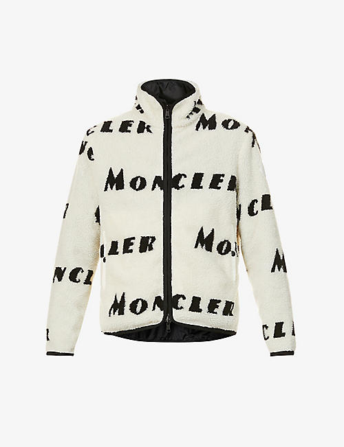 MONCLER: Logo-print reversible fleece and shell jacket