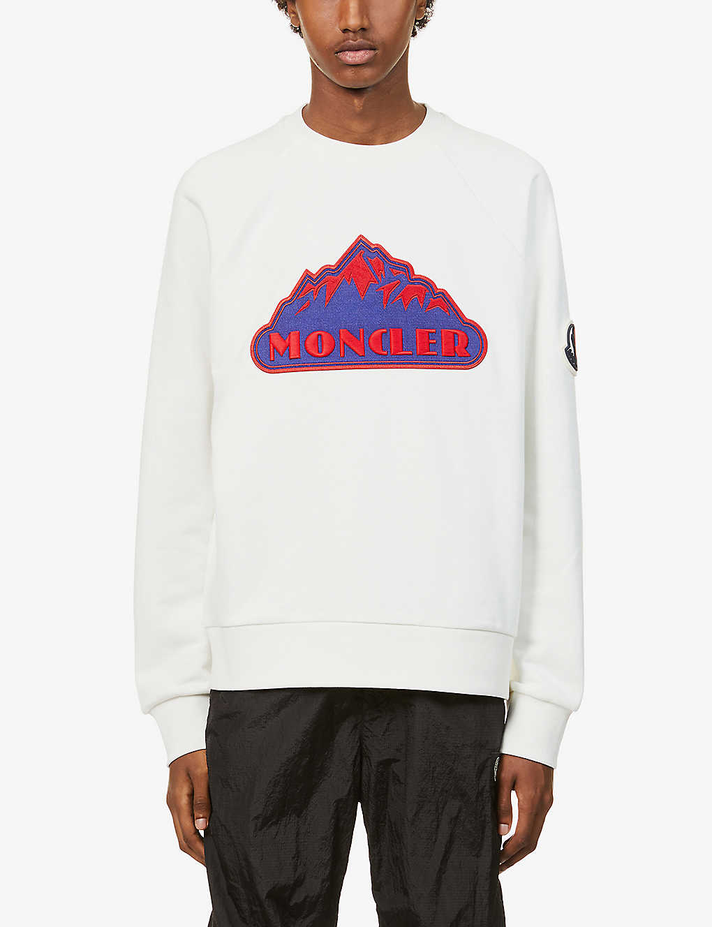 MONCLER: Logo-embroidered raglan-sleeved cotton-jersey sweatshirt