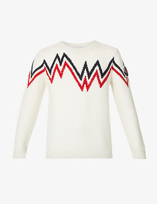 MONCLER: Girocollo graphic-pattern woven jumper