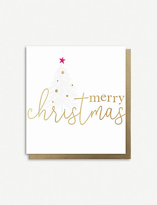 CAROLINE GARDNER: Merry Christmas tree greeting cards x 8