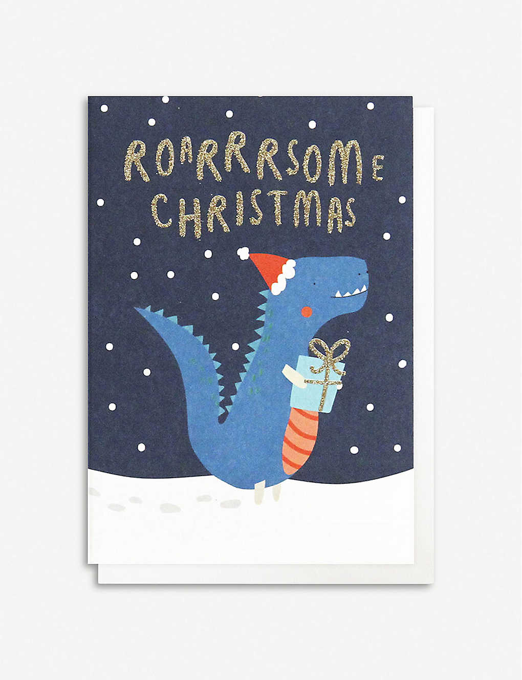 CAROLINE GARDNER: Pack of 10 Dinosaur motif Christmas greeting cards 13.5cm x 10cm