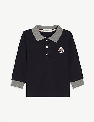 MONCLER: Branded long-sleeved cotton polo shirt 3-36 months